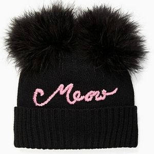 "KATE SPADE feather ""meow"" black/pink beanie hat"